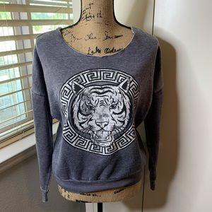 Karma Nation Tiger Crest Scoop Sweatshirt
